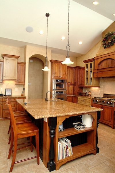 Kitchen with wood cabinets and granite counter tops